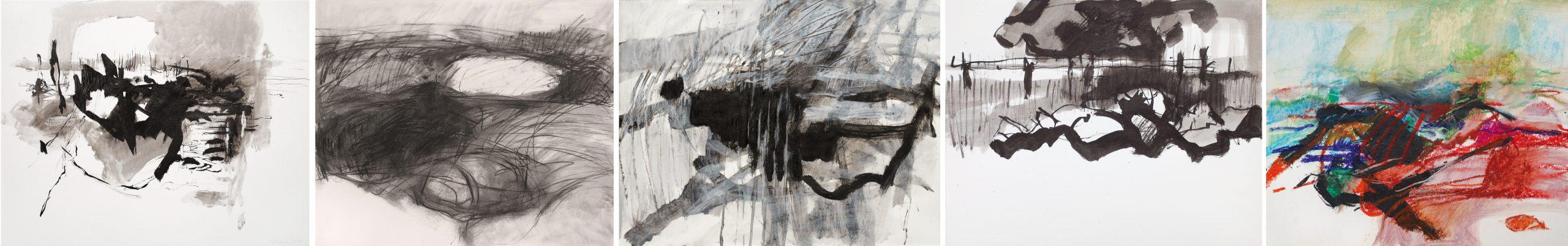 40 x 50 cm, tusche, 50 x 60 cm, grafit, 27 x 35 cm, lithotusche, 27 x 35 cm, tusche, 20 x 25 cm, ölkreide/karton